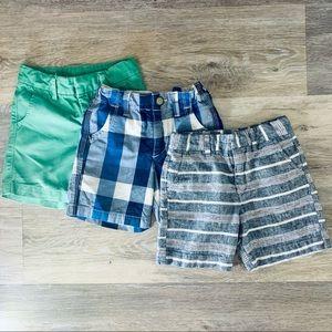 2T Gap Shorts in Green   Blue Gingham   Grey Plaid